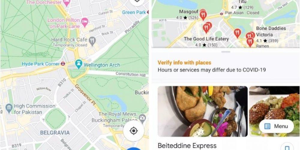 Google Maps se actualiza y añade restaurantes que ofrecen comida para llevar