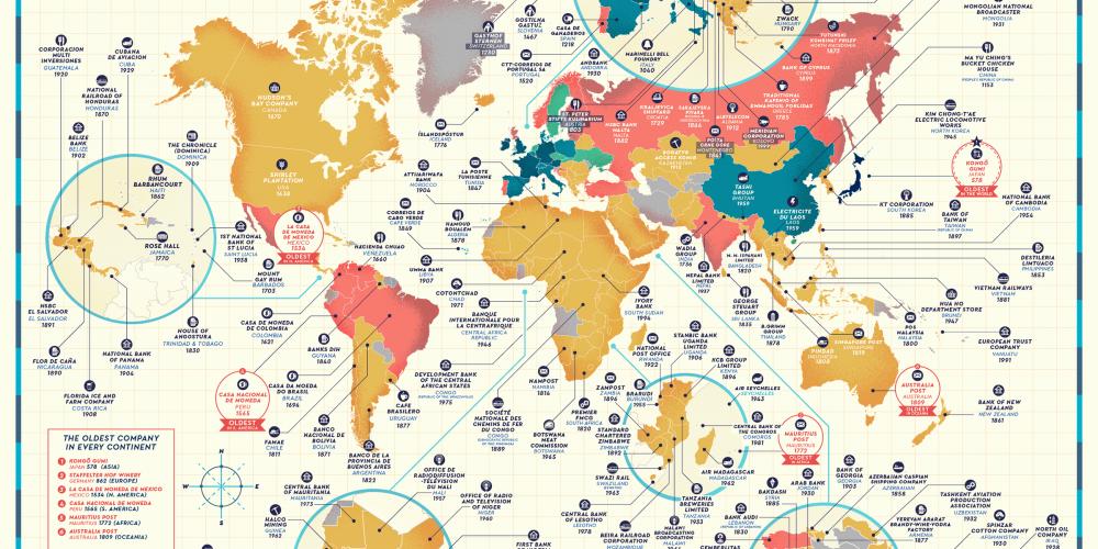 Este mapa muestra las empresas más antiguas de cada país del mundo