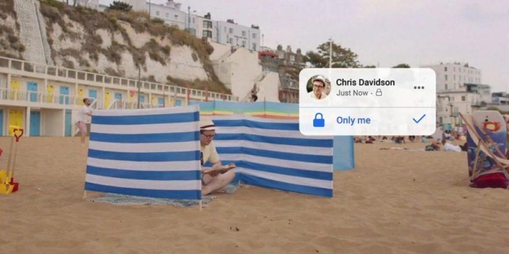 Facebook explica sus opciones de privacidad desde la playa en su nuevo anuncio