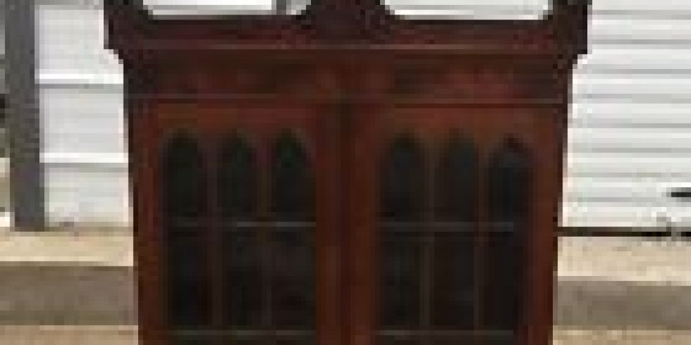 Antique Victorian Walnut Cabinet Hutch Top Gothic Arch Glass Pane Doors Bookcase