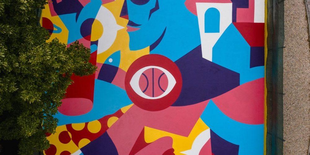 Un impresionante street art en una cancha de baloncesto de Lisboa