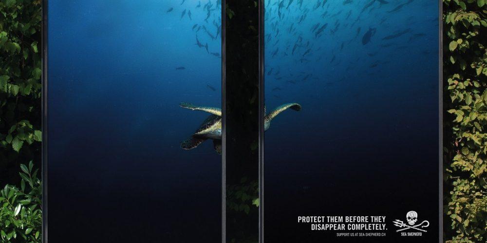 Vallas publicitarias partidas por la mitad para proteger a las especies marinas
