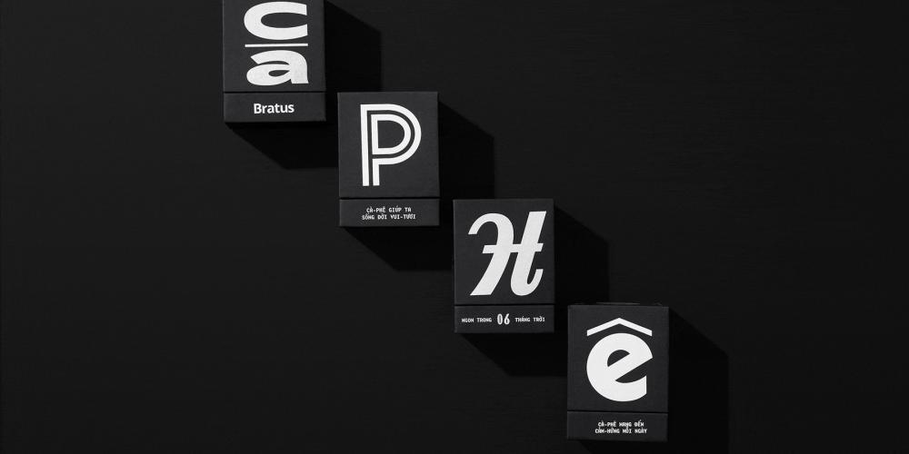 Un packaging de café y cacao que recupera tipografías antiguas de Vietnam