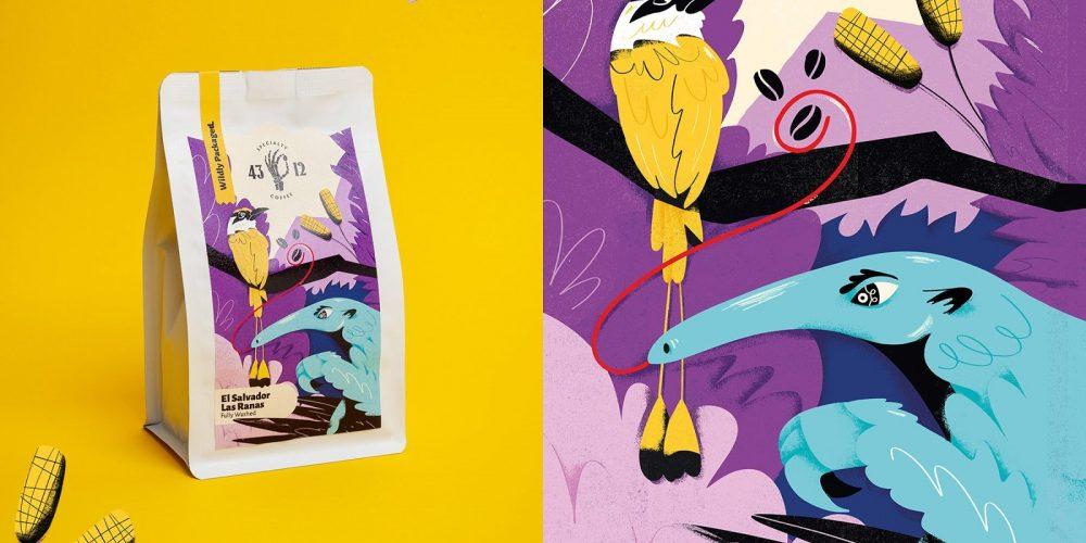 Animales salvajes protagonizan las ilustraciones de este bonito packaging de café