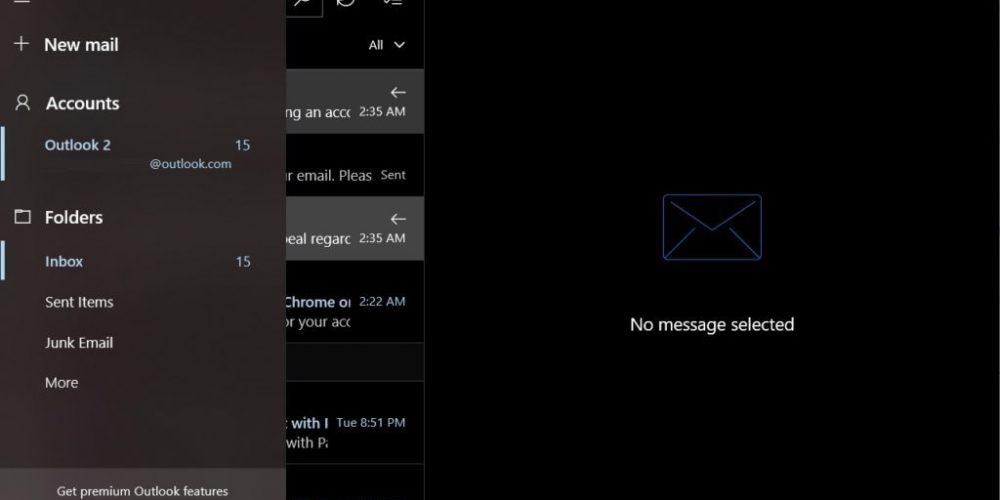 Microsoft añade un modo nocturno a su aplicación de correo para Windows 10