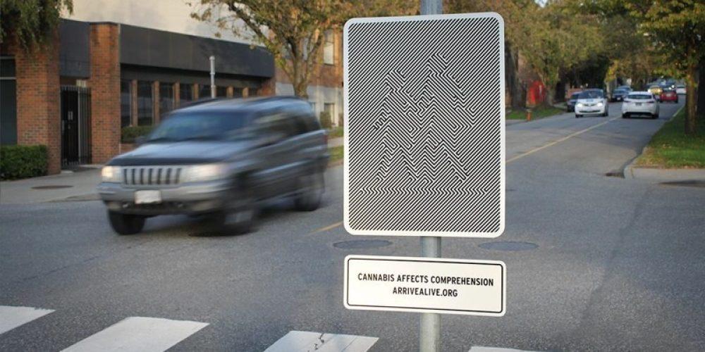 Señales con efectos visuales para concienciar sobre la conducción bajo los efectos del cannabis