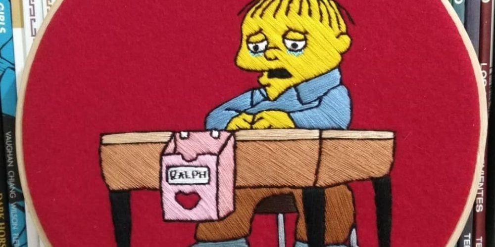 Esta artista borda sus escenas favoritas de «Los Simpson»… y el resultado es genial