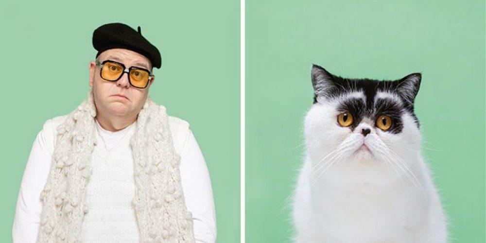 Este fotógrafo ha retratado a gatos con sus dobles humanos
