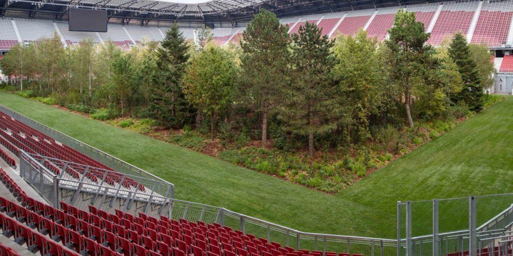 Este artista ha plantado un bosque en medio de un campo de fútbol de Austria
